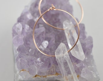 Quartz Raw Crystal Hoop Earrings, Raw Quartz Point Earrings