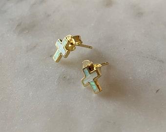 White Opal Cross Earrings .925 Sterling Silver Earrings in Gold, Silver, or Rose Gold