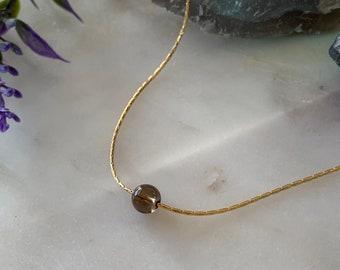 Choose Your Gemstone, Floating Gemstone Necklace, Smokey Quartz, Rose Quartz, Moonstone, Peridot, Ruby, Sapphire, Aquamarine Pink Tourmaline