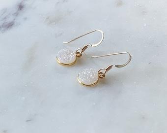 Raw Stone Earrings, Druzy Stone Dangle Earrings, Bohemian Natural Druzy Drop Earrings, Birthday Gift, Gift for Her, Christmas Gift