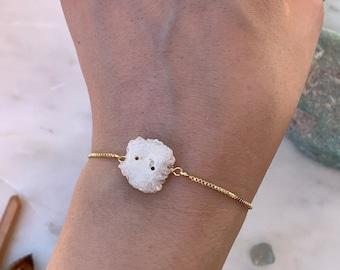 Solar Quartz Bracelet, Adjustable Solar Quartz Bracelet, Crystal Quartz Bracelet, Gemstone Bracelet, Rose Gold Bracelet, Bridal Gift