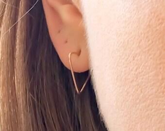 Triangle Stud Earrings, Minimal Earrings, Minimalist Earrings, Gold Filled Earrings, Rose Gold Threader, Threader Earrings, Threader Hoops