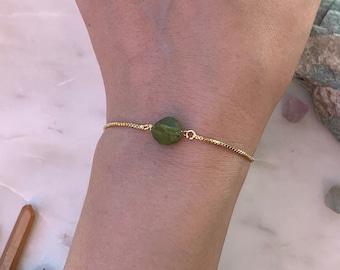 Bridesmaids Bracelet, Adjustable Raw Peridot Bracelet, Gemstone Bracelet, Rose Gold Bracelet, Bridal Gift
