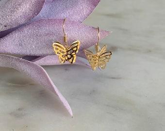 3D Butterfly Drop Earrings in 14k Gold Filled or Sterling Silver, Butterfly Wing Earrings, Butterfly wings, Butterflies