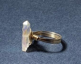 Angel Aura Quartz Crystal Point Wire Ring, Quartz Gold Ring, Silver Ring, Wire Wrap Ring with Titanium Crystal Quartz Gemstone, Any Size