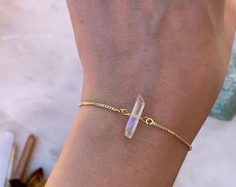 White Rainbow Quartz Crystal Bracelet, Adjustable White Rainbow Quartz Bracelet, Crystal Quartz Bracelet, Gemstone Bracelet, Rose Gold