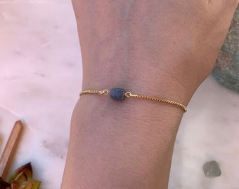Bridesmaids Bracelet, Adjustable Blue Sapphire Bracelet, Gemstone Bracelet, Rose Gold Bracelet, Bridal Gift