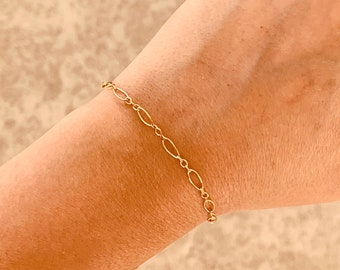 Long and Short Link Chain Bracelet, Simple Chain Bracelet, Gold, Silver, or Rose Gold Bracelet
