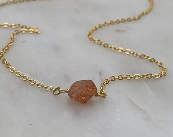 TINY RAW SUNSTONE Necklace in 14k Gold Rose Gold Plated Sterling Silver, Rose Quartz Pebble / Gemstone Necklace