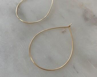 HOOP EARRINGS / Simple Teardrop Hoop Earrings in Gold Filled, Rose Gold Filled, or Sterling Silver