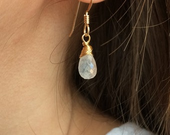 MOONSTONE Drop Earrings, 14k Gold Filled, Sterling Silver, or Rose Gold Filled Earrings