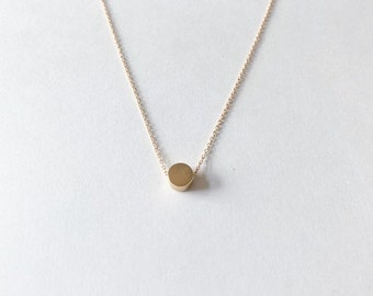 6mm Tiny Dot Necklace in Gold Plated Sterling Silver, Rose Gold Plated Sterling Silver, or Sterling Silver