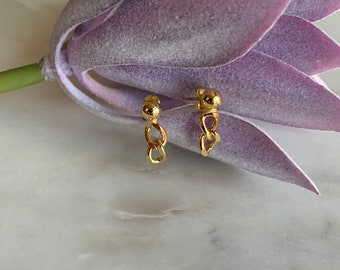 Chain Earrings, Small Chain Drop Stud Earrings in Gold or Silver Plated