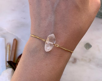 Wide Quartz Crystal Bracelet, Adjustable Raw Quartz Bracelet, Crystal Quartz Bracelet, Gemstone Bracelet, Rose Gold Bracelet, Bridal Gift