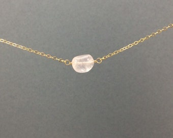 ROSE QUARTZ Necklace in 14k Gold Rose Gold Plated Sterling Silver, Rose Quartz Pebble / Gemstone Necklace