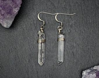 Polished Raw Quartz Crystal Point Earrings, Quartz Crystal Point Earrings, Raw Crystal Earrings,