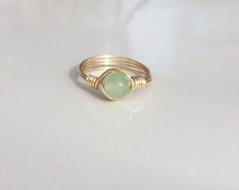 Green Chalcedony Gemstone Wire Ring, Green Ring, Silver, Gold, or Rose Gold Ring, Green Crystal Ring, Natural Ring, Wire Ring, Stacking Ring