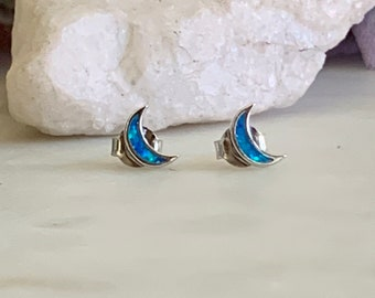 Blue Opal Moon Earrings Gold Plated Rose Gold Plated Blue Opal .925 Sterling Silver Earrings