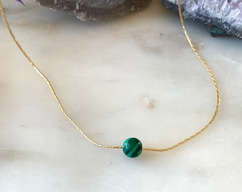 MALACHITE Floating Gemstone Necklace Minimal Gemstone Necklace, Floating Necklace