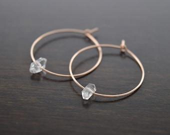 Herkimer Diamond Earrings, Hoop Earrings, Crystal Earrings, Raw Crystal Earrings, Quartz, Gold Hoop Earring, Rose Gold Hoops, Diamonds