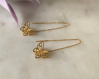3D Butterfly Threader Earrings in Gold or Sterling Silver