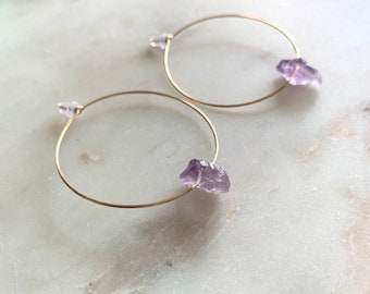 Raw Amethyst Earrings, Gold Hoop Earrings,14k Gold Filled, Silver, or Rose Gold Filled Hoops With Small Amethyst Nuggets, Natural Gemstone