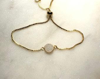 White Rainbow Druzy Bracelet, Adjustable Bracelet, Raw Crystal, Druzy Quartz Crystal Bracelet, White Gold Bracelet, Bridal Gift Jewelry