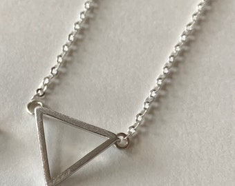 Open Triangle Necklace in Necklace in Rose Gold or Gold Plated Sterling Silver or Sterling Silver