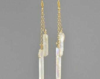 Raw Rainbow Quartz Crystal Point Earrings, Double Chain Drop, Rose Gold Earrings, Clear Quartz Earrings, Rose Gold, Rose Gold Jewelry