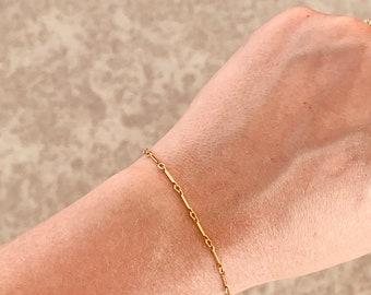 Bar Link Chain Bracelet, Simple Chain Bracelet, Gold, Silver, or Rose Gold Bracelet