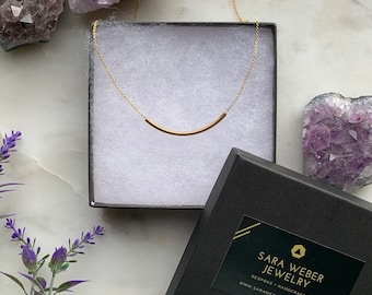 Curved bar necklace in 14k gold filled or sterling silver, simple gold necklace, minimal jewelry, Dainty Necklace, Gold Necklace