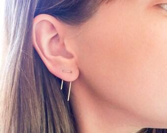 Double Piercing Earrings, Staple Earrings, Staple Threader Earrings, Double Lobe Earrings, Double Piercing, Minimal Earrings, Minimalist