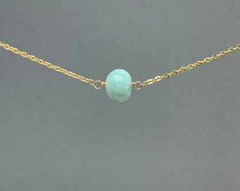Polished Raw Amazonite Gemstone Necklace, Natural Stone Gift, Crystal Necklace, Natural Stone Pendant, Bridesmaids Gift