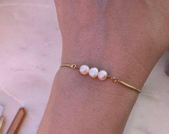 Bridesmaids Bracelet, Adjustable Three  Pearl Bracelet, Gemstone Bracelet, Rose Gold Bracelet, Bridal Gi