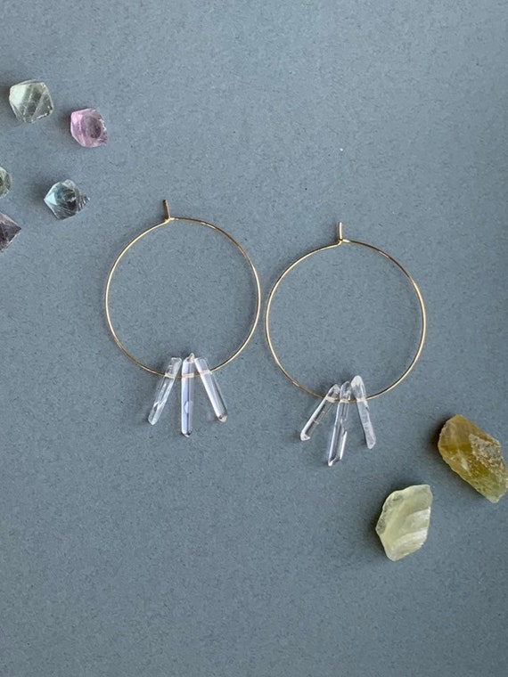 Polished Triple Quartz Hoop Earrings, Raw Quartz Point Earrings, Quartz Point Earrings, Raw Crystal Earrings