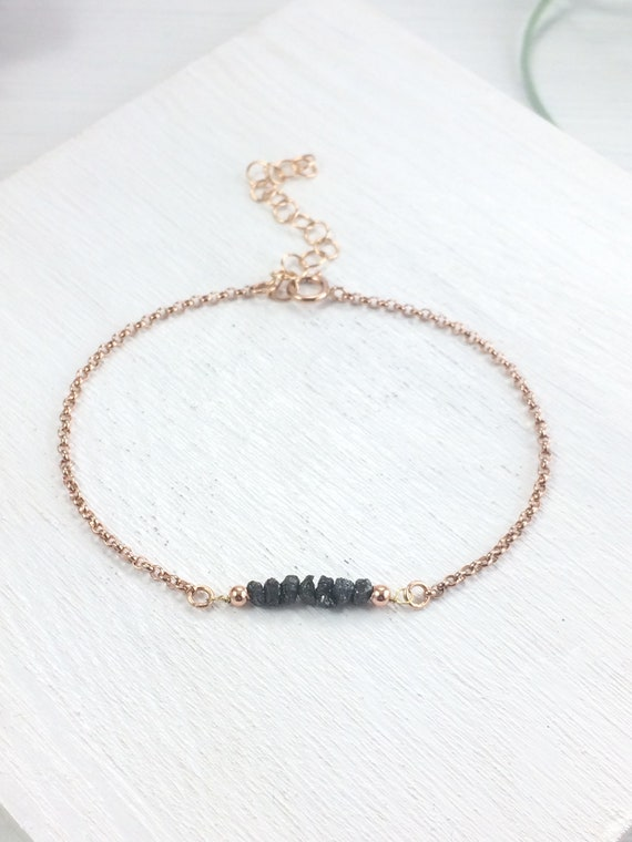 Diamond Bracelet, Raw Black Diamonds, gemstone bar bracelet, minimal bracelet, everyday bracelet, natural bracelet, diamond tennis bracelet