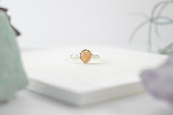 Peach Moonstone Wire Wrapped Ring, Peach Moonstone Ring, Peach Moonstone Gemstone Ring 14k Gold Filled, Sterling Silver, or Rose Gold Filled