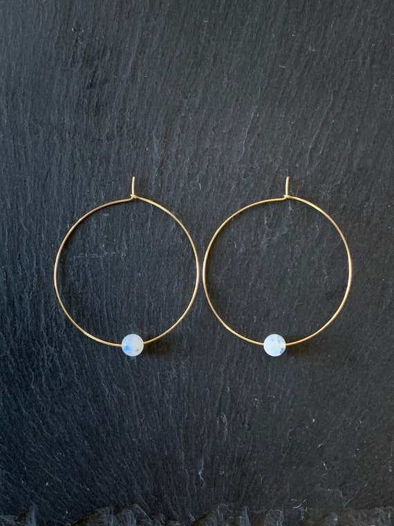 Simple Gemstone Hoop Earrings, Rainbow Moonstone Earrings