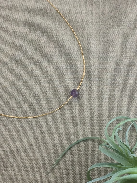 Amethyst Birthstone Necklace, February Birthstone, Gemstone Birthstone Necklace, Family Birthstone,Custom Birthstone, February Birthday Gift