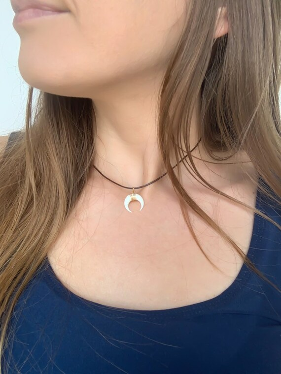 CHOKER NECKLACE / Double Horn / Cow Bone Crescent Moon Shaped Adjustable Necklace in Gold, Silver, or Rose Gold