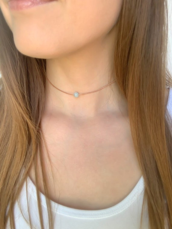 CHOKER NECKLACE / Aquamarine Round Gemstone  / Adjustable Necklace in Gold, Silver, or Rose Gold