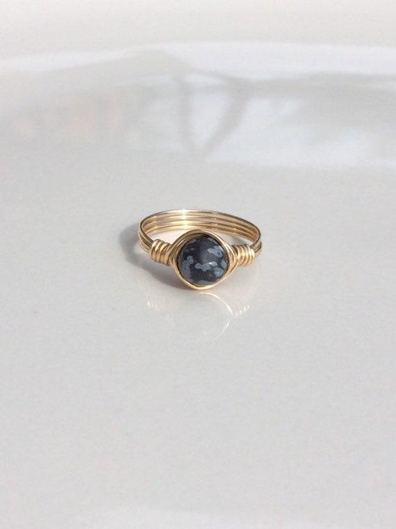 Snowflake Jasper Ring, Black Ring, Snowflake, Snowflake Jasper, Wire Ring, Wire Wrap Ring, Gemstone Ring, Nature Ring, Raw Crystal Ring