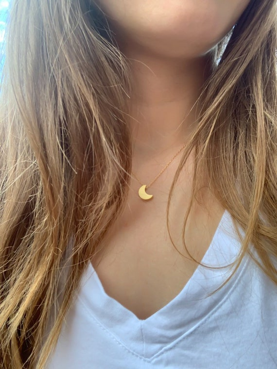 Dainty Moon Necklace, Simple Moon Necklace, Crescent Moon, New Moon, Full Moon, 14k Gold Fill, Sterling Silver, Rose Gold Filled