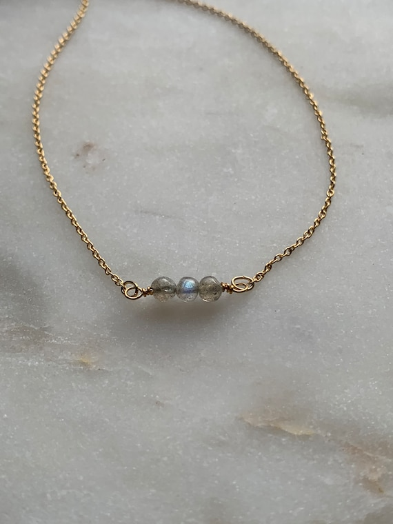 Tiny Round LABRADORITE 3 Bead Necklace in 14k Gold Filled, Rose Gold Filled, Sterling Silver, or Plated / Labradorite / Gemstone Necklace