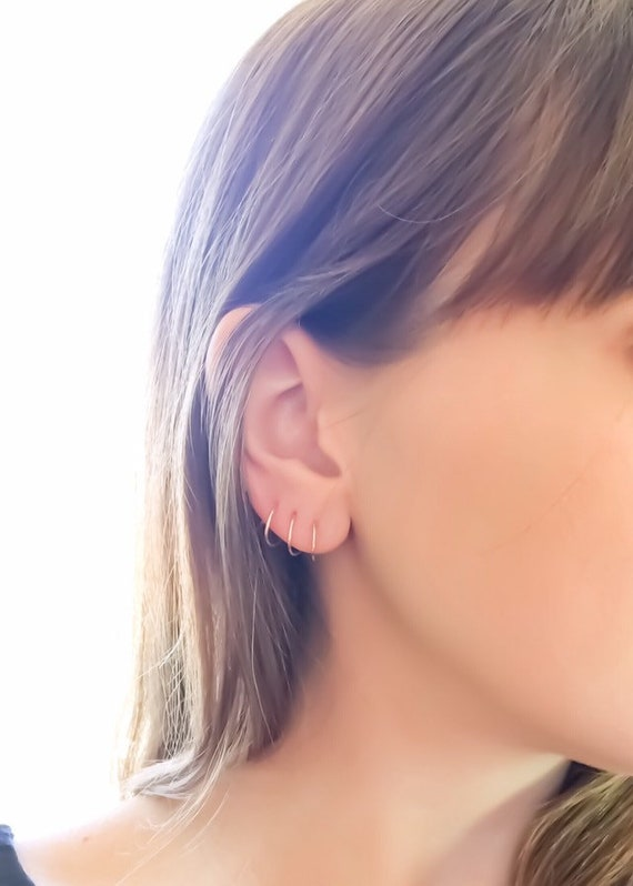 DBL Double Piercing Spiral Earrings, Piercing Earrings, Rose Gold Earrings, Gold Filled Earrings, Spiral Hoop Earrings, Spiral Hoops