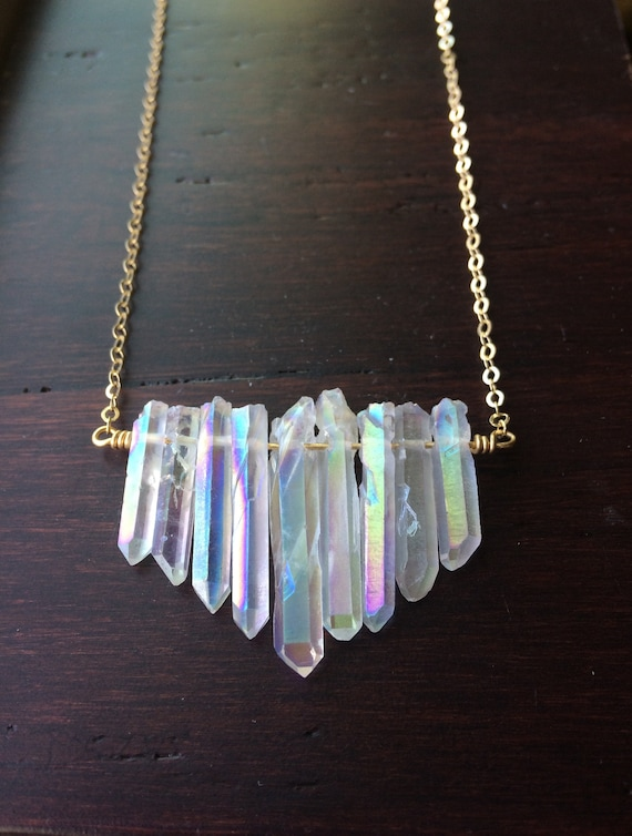 Graduated Angel Aura Quartz Crystal Necklace
