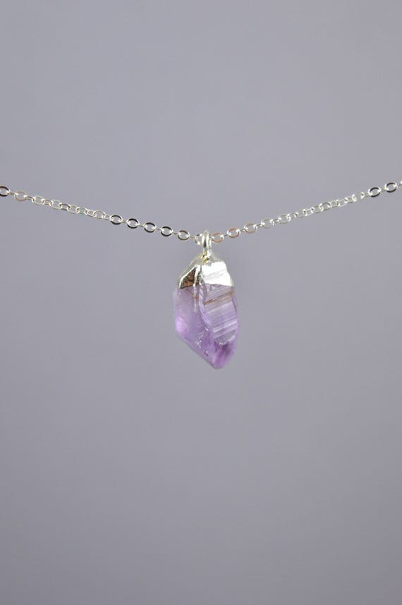 Gold or Silver Dipped Raw Amethyst Necklace