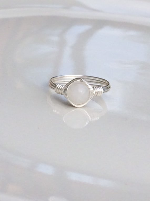 White Quartz Crystal Wire Ring