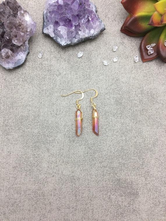 Orange Aura Quartz Crystal Point Earrings, Quartz Crystal Point Earrings,, Raw Crystal Earrings