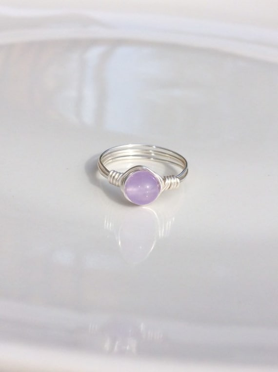 Purple Chalcedony Wire Ring